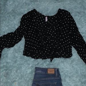 Button up and tie up polka dot crop top